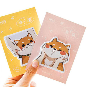 AB44 1X Cute Kawaii Puppy Dog Shiba Post-It Sticker Memo Pads DIY Decor Plan Writing Sticky Notes School Office Supply - Corg Co.