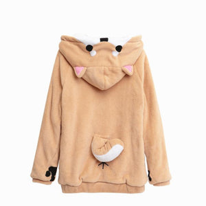 Shiba Inu Hooded Plush Sweater/Jacket - Corg Co.
