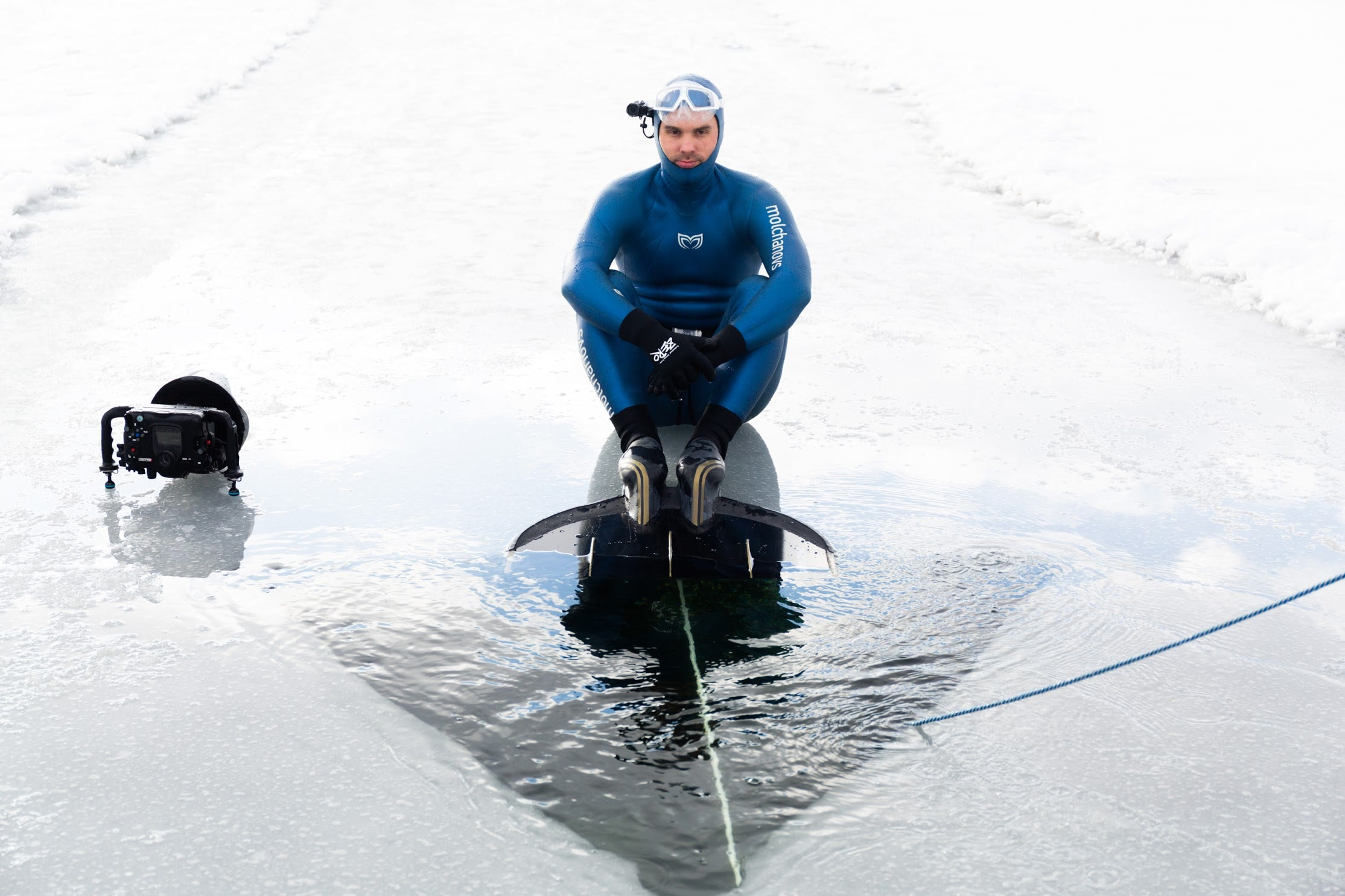 Alexey Molchanov preparing for a World Record breaking under-ice dive