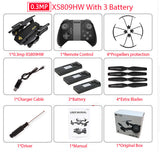 RC Dron XS809W XS809HW Mini Foldable Selfie Drone with Wifi FPV 0.3MP or 2MP Camera Altitude Hold Quadcopter Vs JJRC H37 - FREE Delivery