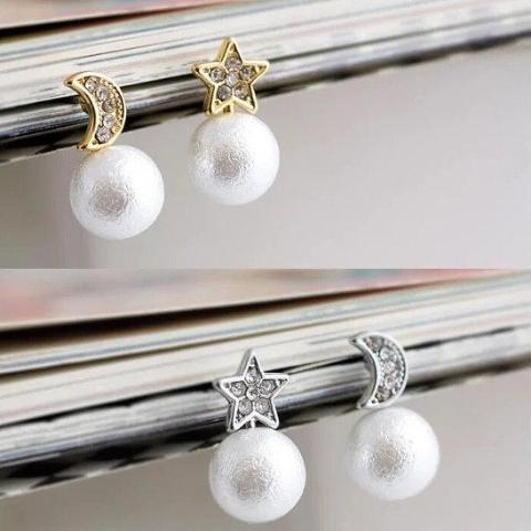 Cotton pearl Invisible Clip on Earrings, Moon Star Clip Earrings