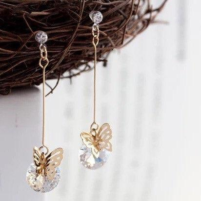 butterfly clip on earring, cubic zirconia clip earring, dangle clip on Earrings