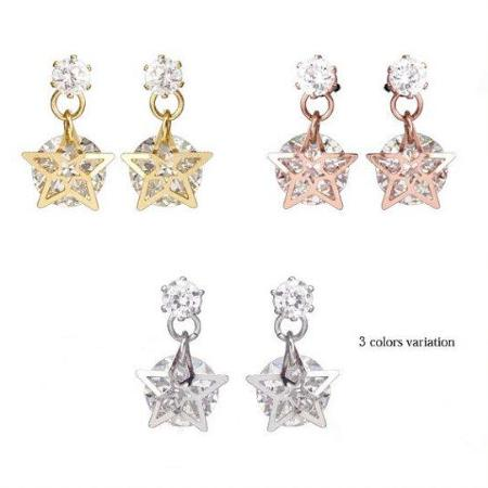 Cubic zircon star earring, customized clip on earring, star earring, invisible clip on earring