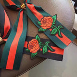 bow tie ribbons, neck scarf, embroidery rose scarf, gucci style scarf