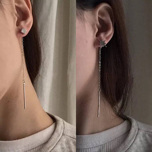 Dangle metal bar earring, customized clip on earring, asymmetric dangle earring, star earring