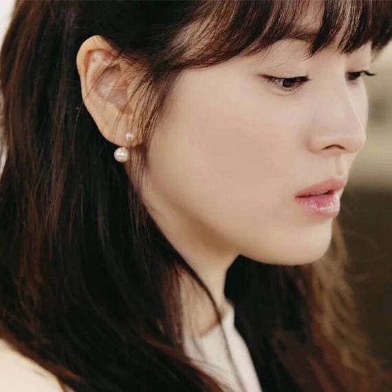 pearl jacket earring, customized clip on Earring, Song Hye Kyo earring