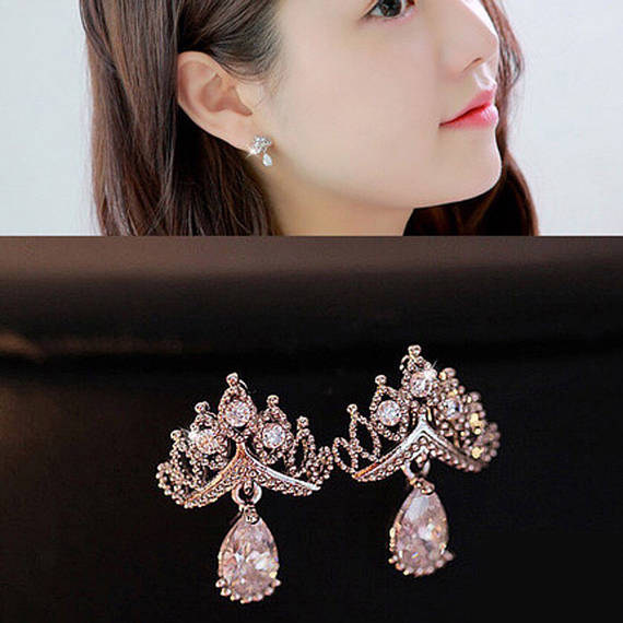 Crown clip on earring, clip on earring, non pierced clip earring