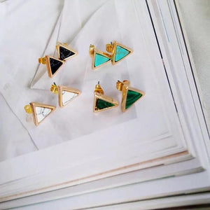 gemstone earring, customized clip on earring, marble earring, malachite earring, triangle earring
