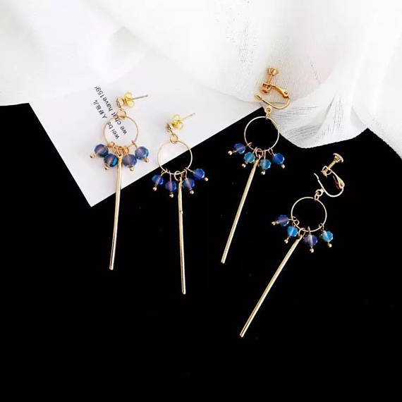 long dangle tassel earrings, blue crystal earrings, customized clip on earring