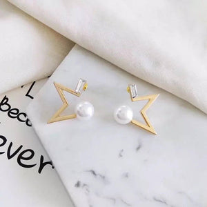 Golden star earrings, customized invisible clip on earring, star pearl earrings