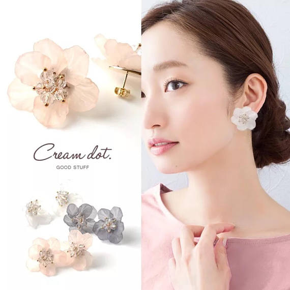 3D flower clip on earring, crystal flower clip earrings, floral clip on earring,
