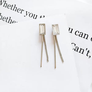 Tassel crystal earrings, simple design earrings, non piercing earrings, clip on earrings,  square diamond clip on earrings