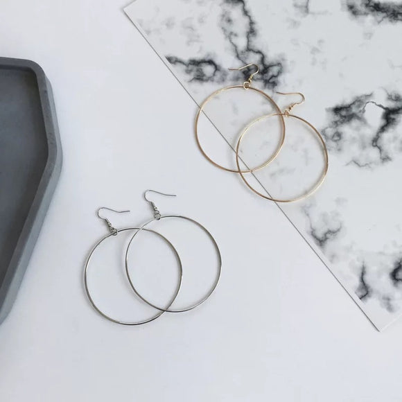 Dangle big circles earring, customized clip on earring, dangle hoop earring, dangle circle earring