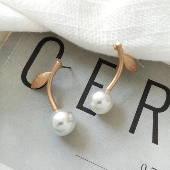 pearl cherry earrings, invisible clip on earrings