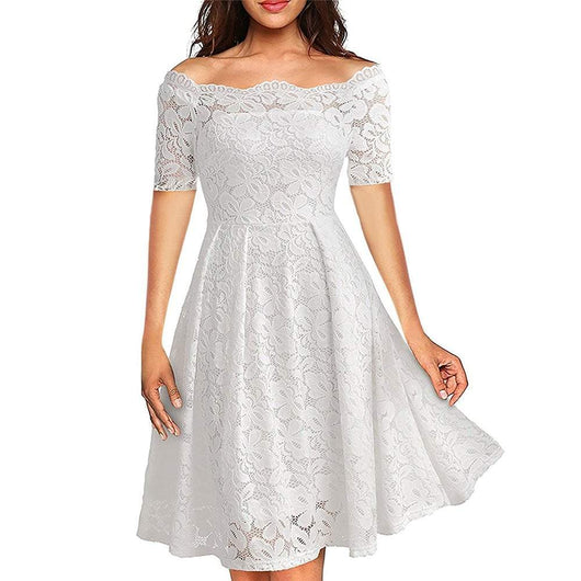 Lace Off Shoulder Short Sleeve Casual Evening Party Dress