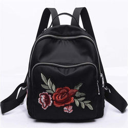 Embroidery Peony Flower Women Backpack School Bags