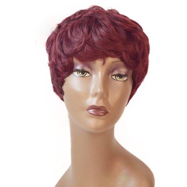 Fashion Short Curly Wig Wine Red for Women Heat Resistant Hair Cosplay 5 inch