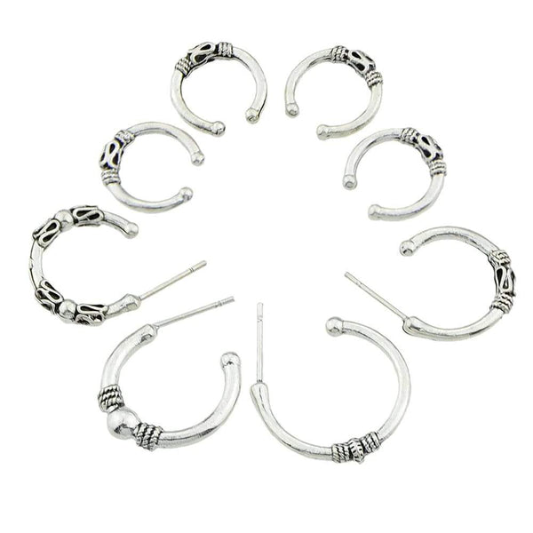 Geometric Pattern Hoop Earrings