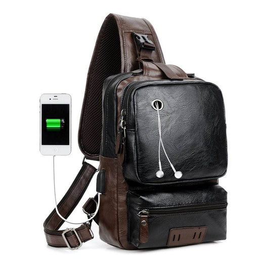 Anti-Theft External USB Charge Bag Patchwork Men