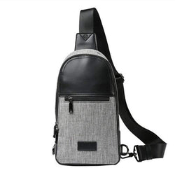Gray Chest Canvas Unbalance Backpack Single Shoulder Sling