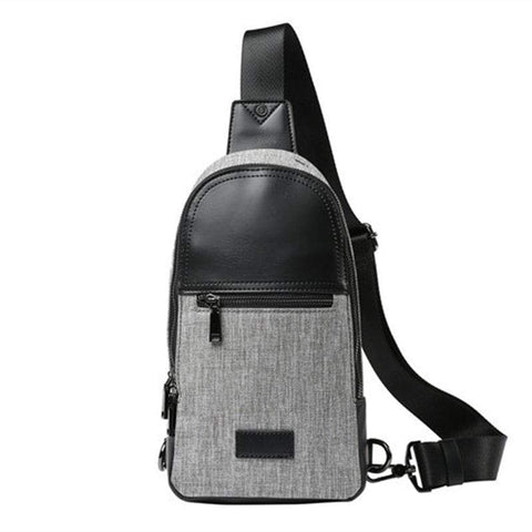 Gray Chest Pack Canvas Unbalance Backpack Single Shoulder Sling Bag