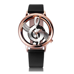 Fashion Casual Note Music Notation Leather Quartz Wristwatch Fashion