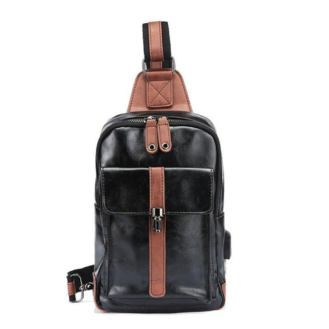 New Men Chest Pack Zip Lock Sling Bag PU Leather Unbalance Backpack