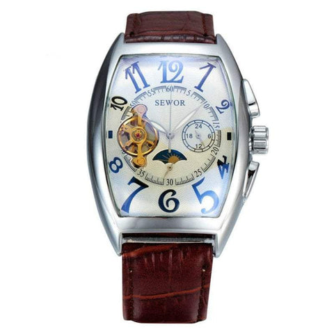SEWOR Business Fashion Skeleton Leather Men Automatic Mechanical Military Wrist Luxury Sport Watch