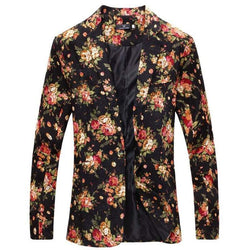 Floral Print Cotton Blend Casual Blazer