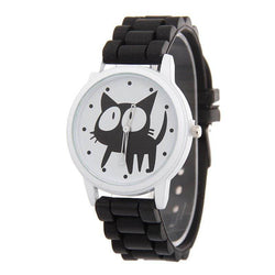Cartoon Cute Big Eyes Cat Student Watch