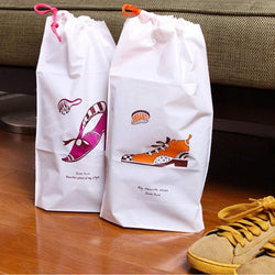 Hand Drawing Cartoon Travel Shoes Drawstring Pocket Storage Bag