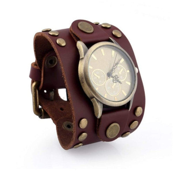 Retro Big Wide Leather Men Watch