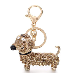 Alloy Diamond Cute Dachshund Dog Keychain