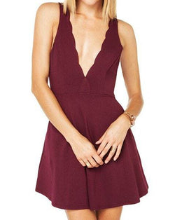 Alluring Plunging Neck Sleeveless Backless Dress
