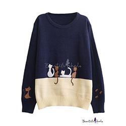 Preppy Look Color Block Cat Embroidered Round Neck Long Sleeve Sweater
