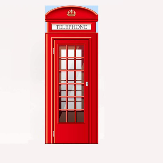 3D Red Telephone Booth Door Mural Sticker Decorative 3D Call Box Door Stickers