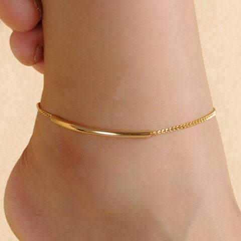 Solid Color Glazed Bent Tube Foot Leg Anklet