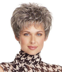 High Temperature Fiber Shaggy Curly Neat Bang Stylish Short Capless Silvery Gray Women's Wig