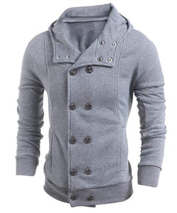 Double-Breasted Turn-Down Collar Long Sleeve Thicken Men's Jacket