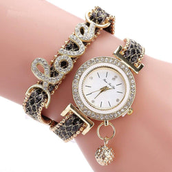Women'S Bracelet Watch Chic Rhinestone Inlay Double Layers Alloy Quartz Watch