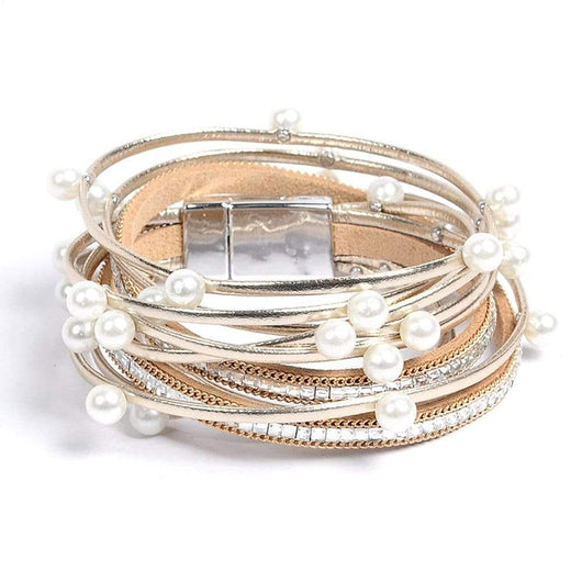 2018 New Fashion Wire Wrapped Bangle Simulated Pearl Style Mix Bangle Bangles Women Jewelry Gift