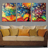 3PCS Abstract Colored Tree Without Frame Oil Painting