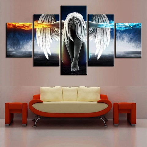 5PCS Printed Angel Wings Painting Canvas Print Room Decor