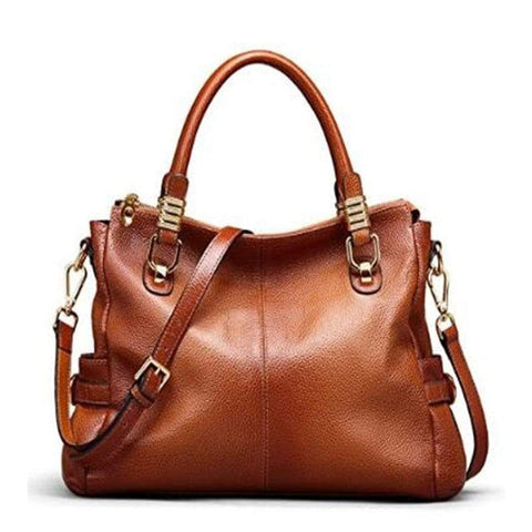 Womens Genuine Leather Vintage Tote Shoulder Bag Top-handle Crossbody Handbags Large Capacity Ladies' Purse Brown