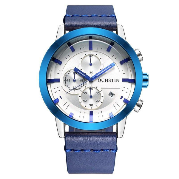 Men Leather Quartz Wrist Watch