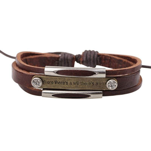 Hand-knitted Leather Rivets English Alphabet Bracelet