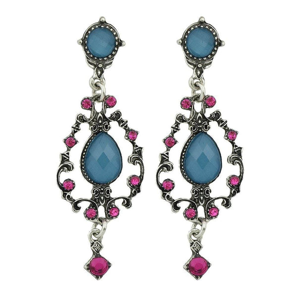 Blue Acrylic Hotpink Rhinestone Earrings