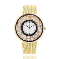 Women Fashion Simple Artificial Diamond-encrusted Steel Quartz Watch