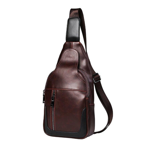 New Leather Men Vintage Crossbody Sling Bag Unbalance Backpack Fashion Pack