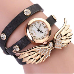 Women Long Strap Leather Wrap Analog Quartz Wrist Watch with Wings